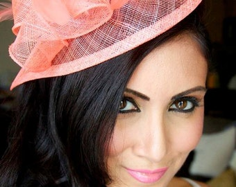 "Coral Fascinator - ""Penny"" Mesh Hat Fascinator with Mesh Ribbons and Coral Feathers"