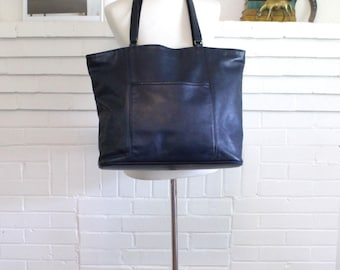 Vintage Coach Bag // Coach Tote // XXL City Tote Shopper Navy Blue // Leather Overnight Bag