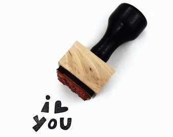 """Rubber Stamp I Heart You - Uplifting Inspirational Craft """"I Love You"""" Wood Mounted Stamp by Creatiate"""