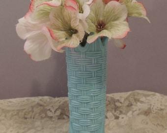 Small Blue Vase / Small Blue Bud Vase / English Blue Basket Weave Vase / Blue Opaque Glass Vase / Blue Basket Weave Vase / Blue Glass Vase
