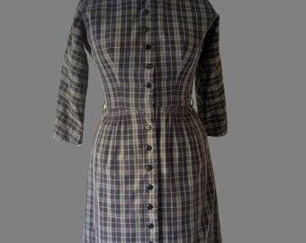 Plaid 1950s L'Aiglon Vintage Dress