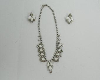 "VINTAGE 1950s  La Rel Milk Glass Clear Rhinestones 16"" Necklace Clipon Clip On Earring Demi Parure Set Pair Gift Mothers Day"
