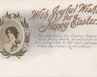 With Joyful Wishes- 1900s Antique Postcard- Happy Easter- Gem Photo- Edwardian Woman Portrait- Paper Ephemera