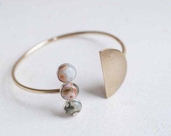 Ocean Jasper + Semicircle Open Cuff Bracelet | Brass + Sterling Silver