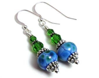 Blue & Green Lampwork Earrings, Swarovski Crystals, Blue Earrings, Green Earrings, Blue Dangle Earrings, Sterling Silver, Crystal Earrings