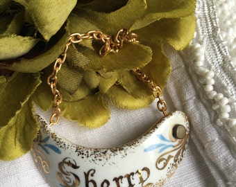 Vintage Sherry Decanter Tag Limoges Porcelain France Porcelaine Liquor Label White Gold & Blue ~ #D2183