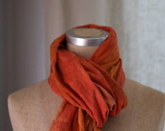Linen Scarf with Frayed Ends, Linen Scarf, Summer Scarf, Tie Dye Shawl, Eco Friendly Flax, Shawl, Mothers Day from Daughter, Flame Stripe
