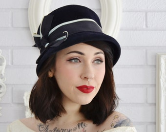 Vintage 1960s Dark Blue Wool Hat with Navy and Light Blue Ribbon and Bow by Finley