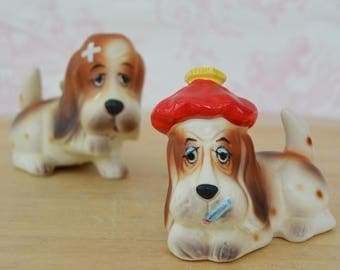 Vintage Salt and Pepper Shakers of Sick and Injured Hound Dogs Made in Japan