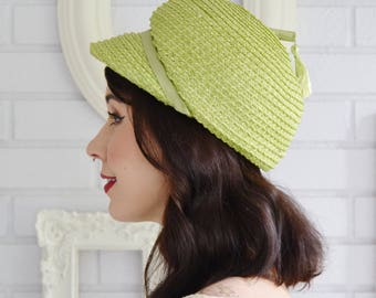 Vintage 1960s Lime Green Woven Raffia Hat with Tassel and Hat Pin Union-Made