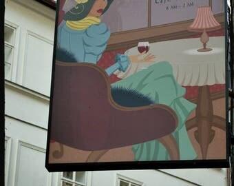 Paris Cafe Photograph, Art Nouveau Paris Print, Paris Cafe Sign, Subtle Pastel Paris sign photograph, Travel Photography, European cafe art