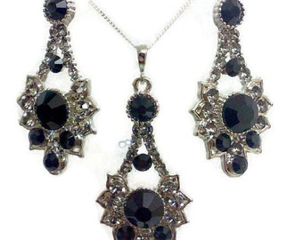 Black Bridal Jewelry Set, Gothic Bridal Earrings, Steampunk Bridal Necklace, Art Deco Jewelry, Bridesmaid Jewelry, Gift for Her RAYS