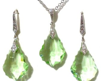 Mint Green Bridal Jewelry Set, Dangle Bridal Earrings, Art Deco Earrings, Gatsby Necklace, Swarovski Crystal Necklace, Bridesmaid Gift, DIVA