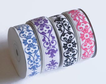 "Damask Glitter FOE 5 yards 7/8"" White Fold Over Elastic Choose Blue Purple Hot Pink Black Baby Girl Headband Connector Spring Summer Wedding"