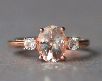 GENUINE Rose Gold Morganite & White Topaz Ring,Peach Blush Pink Morganite,Multi Gemstone Ring,Sterling Silver,Womens,Gift,Rose Gold Vermeil