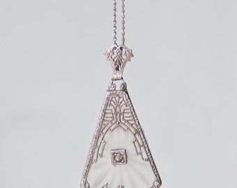 STUNNING Vintage Art Deco Camphor Glass Necklace,Genuine 1920s Paste Sunray Sterling Silver Filigree Pendant Necklace,Lavaliere,Victorian