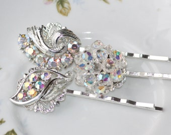 ORIGINAL Vintage Silver Crystal AB Jeweled Hair Pins,Bridal Wedding Bobby Pins,Vintage Upcycled Rhinestone Earring,Eco Couture,Something Old