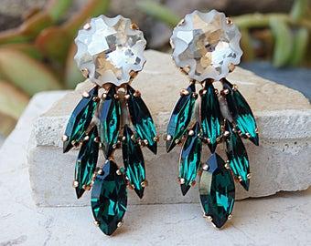 Emerald Earrings, Dark Green Earrings, Swarovski Emerald, May Earrings, Estate Earrings, Emerald Rhinestone Earrings, Prom Wedding Jewelry