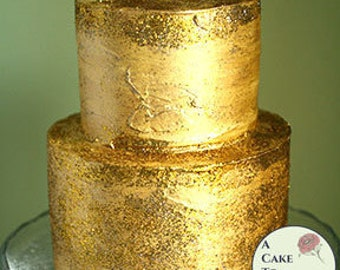 """Fake cake with gold glitter icing for home staging, dessert buffet decor, and photo props. 5"""" and 7"""" tiers, two tiered faux cake."""