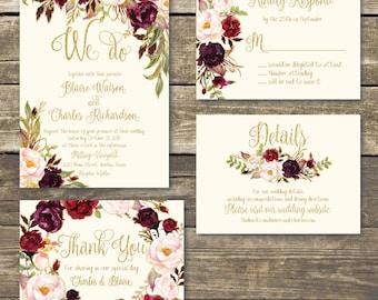 Printable Wedding Invitation - DIY Floral Watercolor Wedding - Gold / Burgundy / Marsala / Wine / Blush Rustic Wedding - Printed Invitation