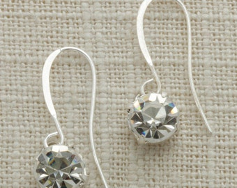 Silver Rhinestone Earring French Hooks Handcrafted 6H