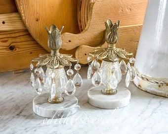 Vintage Pr Hollywood Regency Candle Holders with Crystal Prisms, Marble Base