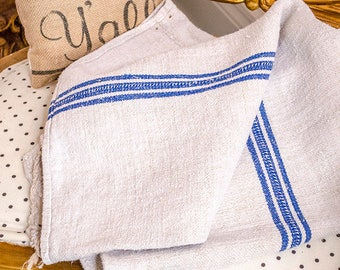 Antique Grain Sack, Blue Stripe, From Europe