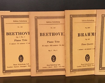 Musical scores,Eulenburg Miniature,Bach, Brahms, Beethoven, Set of 5,vintage music, classical music, sheet music, pocket score, gift
