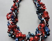 Reserved for Susan: Patriotic multi-strand statement necklace, red, white and blue necklace
