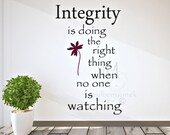 Vinyl Decal Integrity/Motivational Vinyl Decal/Doing the Right Thing Decal/Inspirational Wall Decals/Integrity Wall Decal