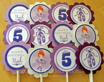 Cupcake Toppers, Ballerina Party, Ballerina Birthday, Set of 12, Personalized, Cupcake picks, 1st Birthday, Purple Ballerina Cupcake Toppers