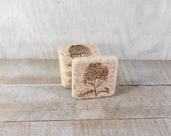 Drink coaster, Stone coaster set, hydrangea, set of 4 rustic earthy coasters