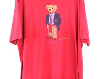Vintage Polo Bear T Shirt XL / Red Short Sleeved Made In USA Ralph Lauren Preppy
