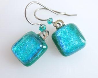 Dichroic Dangle Earrings Green Titanium Earwires Fused Art Glass