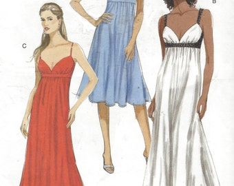 Womens Empire Waist Evening Gown Cut Out Back OOP Vogue Sewing Pattern V8475 Size 14 16 18 20 22 Bust 36 to 44 UnCut Sewing Pattern