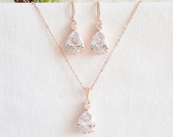 Rose Gold Bridal Jewelry SET, Wedding Necklace Set, Teardrop Dangle Wedding Earrings, Bridesmaids Set, Bridal Pendant Necklace, ISABELLA