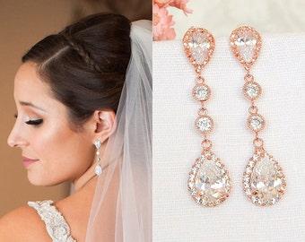 Bridal Earrings, Crystal Wedding Earrings, Rose Gold Earrings, Teardrop Earrings, Long Dangle Stud Earrings, Bridal Wedding Jewelry, HARLEY