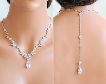 Bridal Necklace, Backdrop Wedding Necklace, Back Drop Bridal Necklace, Crystal Flower Leaf Vine Back Necklace,Wedding Bridal Jewelry, CAMRYN