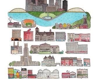 Pittsburgh Pennsylvania Art Print 8.5 x 11 or 11 x 14
