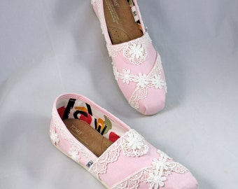 Custom Wedding TOMS -- Lace TOMS- The Julia