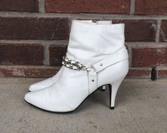 vtg 80s WILD PAIR white leather BOOTS 6 ankle leather rocker Madonna stiletto heels shoes womens pixie punk chain harness