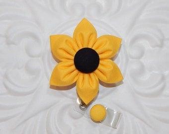 Sunflower Badge Holder - Id Badge Holder - Badge Reel - Retractable Badge - Nurse Badge Holder