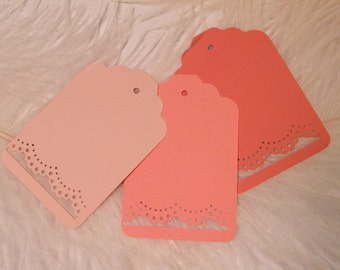 100 Lace Cut Placecards / Gift Tags / Ombre of Coral and Blush / Large Hang Price tag / DIY Wedding Favor and Wish Tree Tags / Die Cut Cards