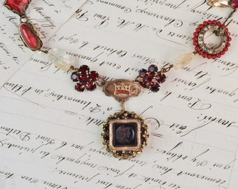 The Crown- Antique Intaglio Watch Fob- Assemblage Vintage Necklace- Deep Red, Gold- Pearls, Agates, Rhinestones, Watch Chains- One of a Kind
