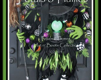"PRE-ORDER for ""2017""Delivery-Halloween Witch Wreath-""The Wicked Witch w/ Crystal Ball""-Giant 56"" Tall-""FINAL Qty listed  for 2017 Pre-Orders"
