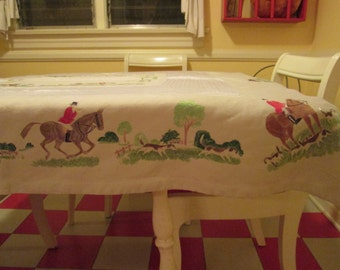 Vintage Linen Equestrian Tablecloth / 50s Hand Painted Riding Scenes Tablecloth Square