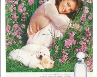 1997 Advertisement Elizabeth Hurley For Estee Lauder Pleasures Perfume Golden Retriever Puppy Fashion Style Celebrity Wall Art Decor
