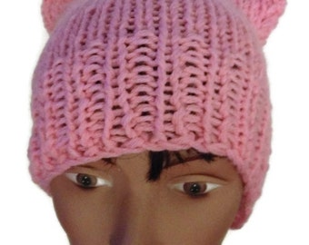 Pussy Hat Pink Crochet or Knit Handmade Women's March Pussy Hat Women Power Woman's Rights Are Human Rights