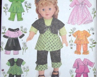 "Craft Sewing Pattern Simplicity 2458 18"" Doll Clothes Wardrobe Top Pants Robe Scarf Shrug Dress Skirt Fits AG Type Girl Uncut Factory Folds"