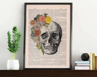 Springtime Skull Decorative Art, Flowers on Skull ,Nature Inspired Print, Decorative Art, Wall hanging Skull print, Art flowers  SKA138